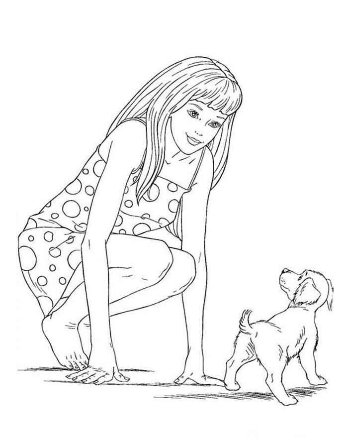 Картинки девочка с собакой раскраска, днем