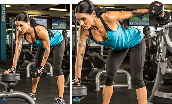 7 эффективных упражнений на задние дельты. Подъем гантели одной рукой стоя в наклоне