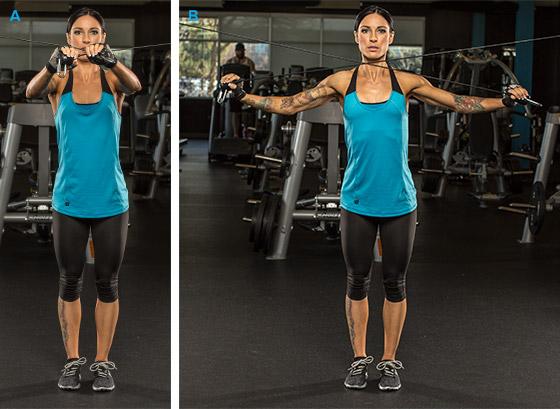7 эффективных упражнений на задние дельты. Тяга верхнего блока двумя руками стоя