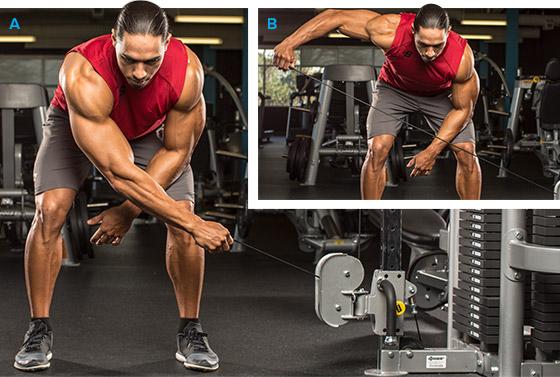 7 эффективных упражнений на задние дельты. Отведение руки на нижнем блоке в наклоне