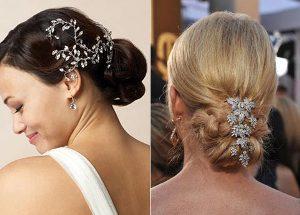 Декоративный низкий пучок для волос до плеч