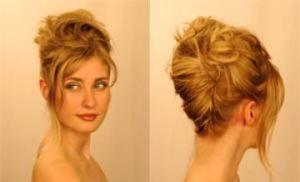Декоративный высокий пучок для волос до плеч
