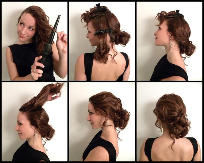Создание вечерней прически на средние волосы