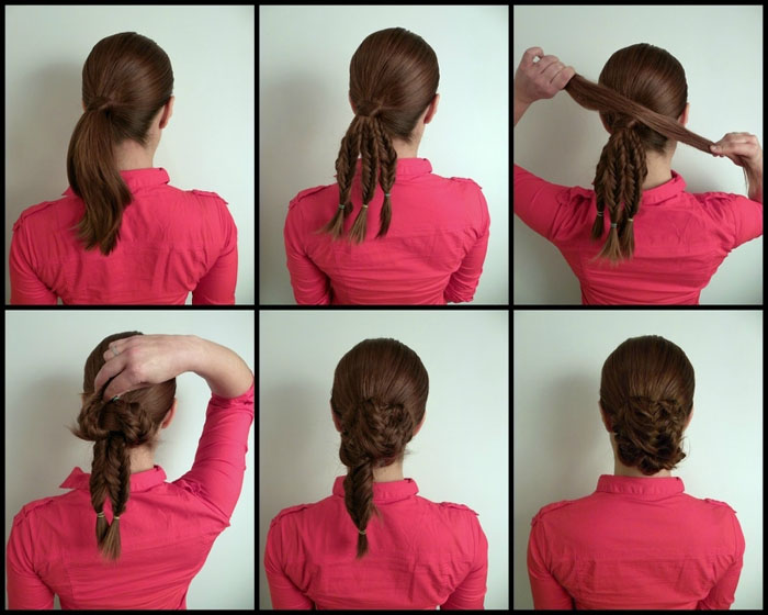 Прическа на средние волосы на основе косичек