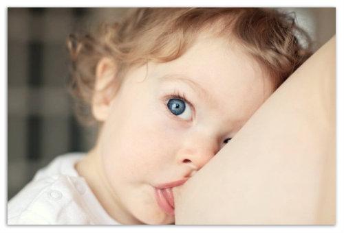 Ребенок сосет грудь.