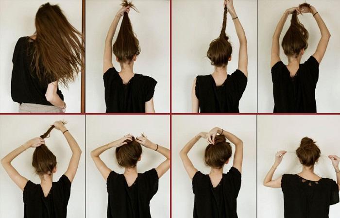 Пучок из волос на голове