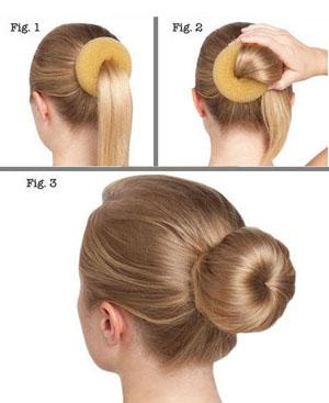 Как сделать пучок при помощи валика для волос