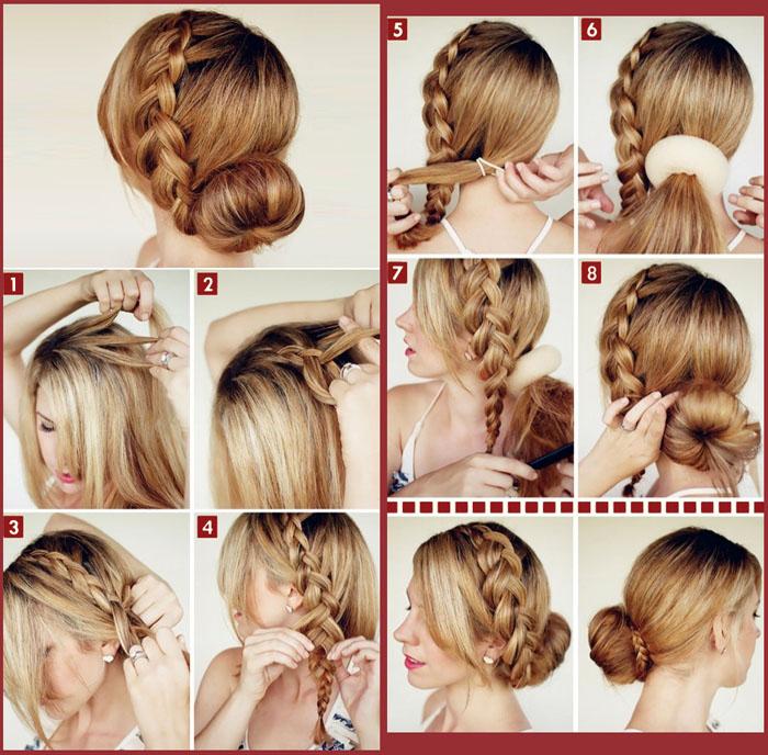 Создание пучка с косами