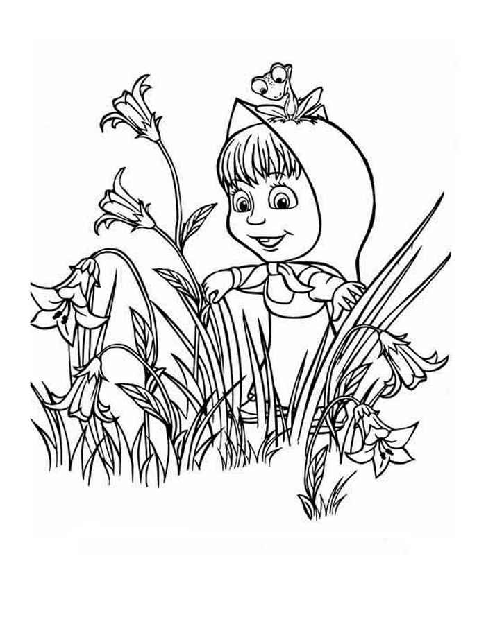 Детская раскраска для девочек маша и медведь
