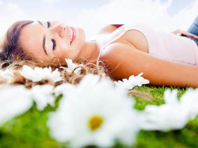 девушка, белые цветы