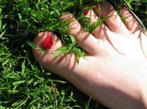 Ступня в траве