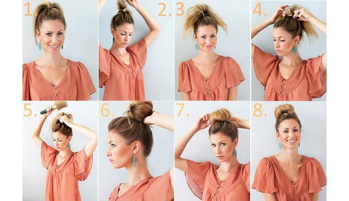 Как сделать объемный пучок на средние волосы