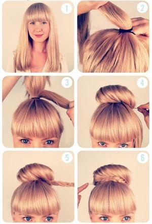 Создание пучка на средние волосы
