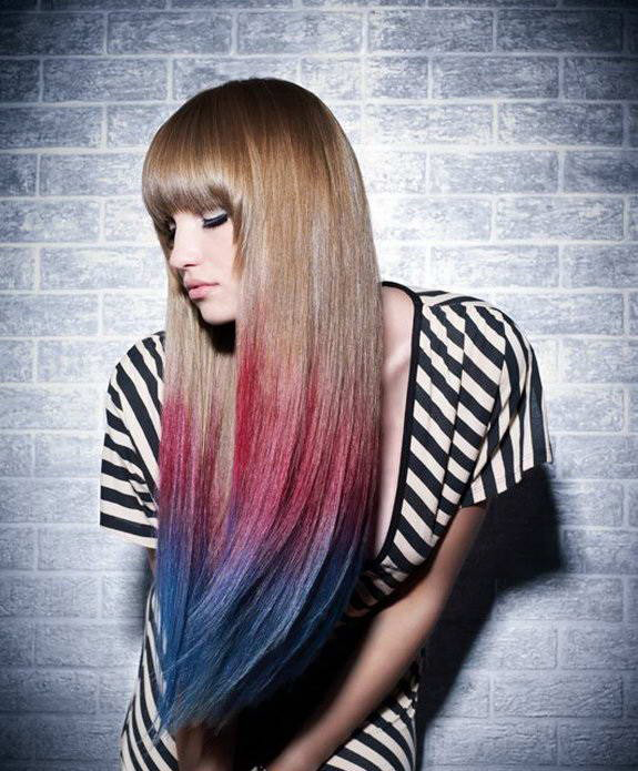 Омбре на длинные волосы
