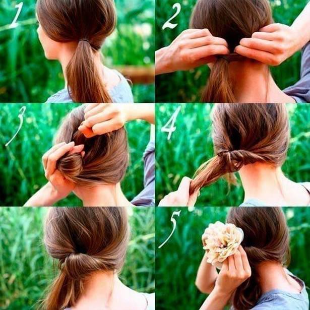 Прическа романтичный хвост на средние темные волосы
