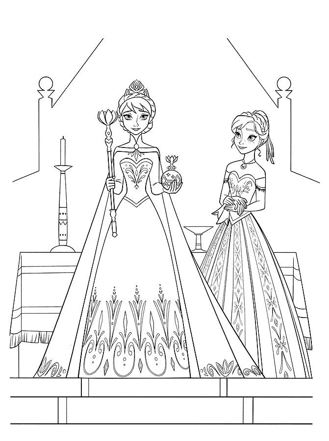 Раскраски Эльза и Анна