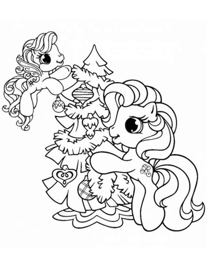 Раскраска лошадка новогодняя