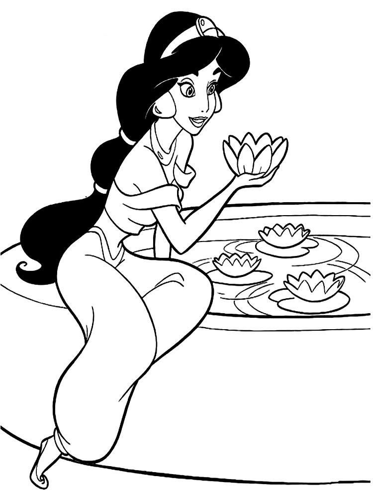 Раскраска принцесса Жасмин