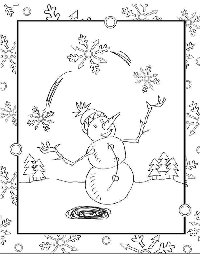 Раскраска снеговик