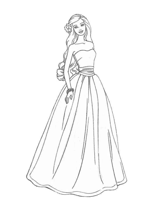Раскраски Барби в красивых платьях