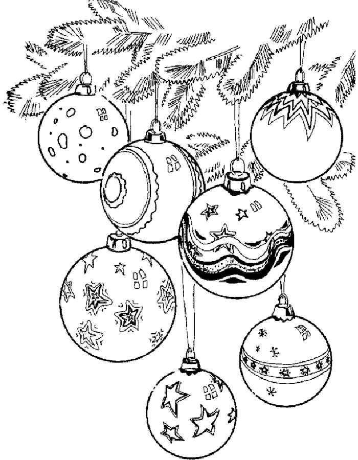 Раскраски новогодние игрушки