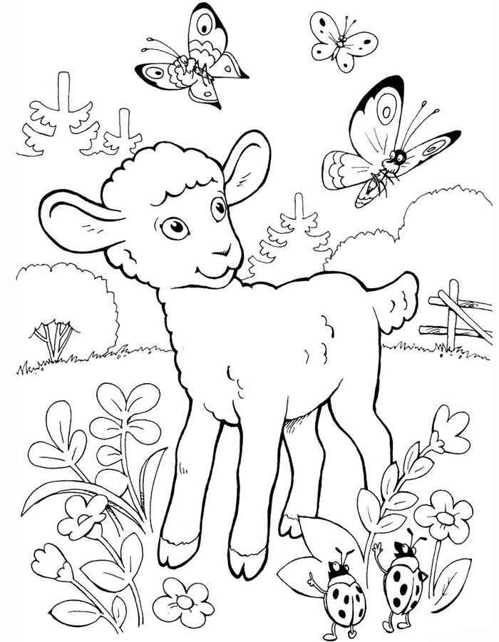 Раскраски к новому году 2015 козы и овцы