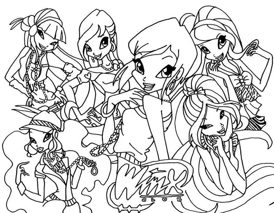 Картинки раскраски для девочек Винкс
