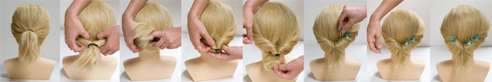 Вывернутый конский хвост на короткие волосы